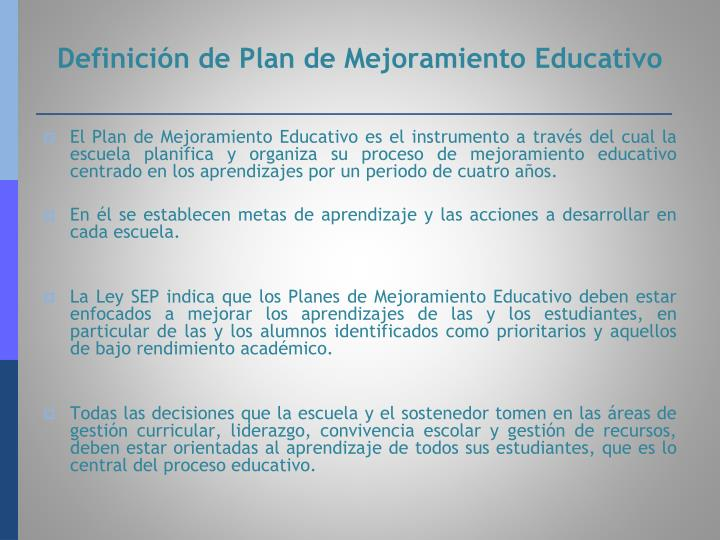 Definici n de plan de mejoramiento educativo