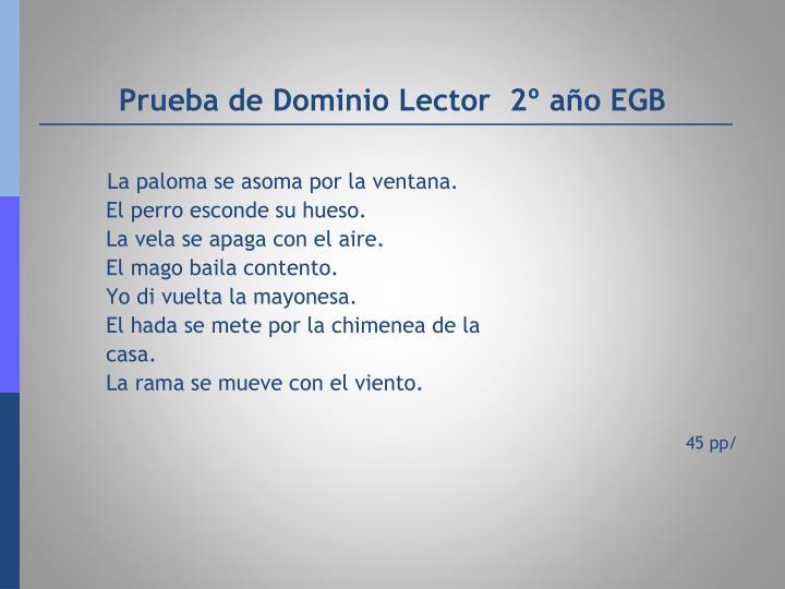 Prueba de Dominio Lector  2º año EGB