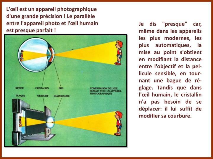 L'œil est un appareil photographique