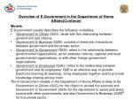 overview of e government in the department of home affairs continue