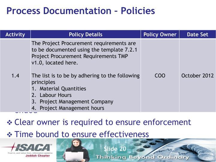 Process Documentation – Policies