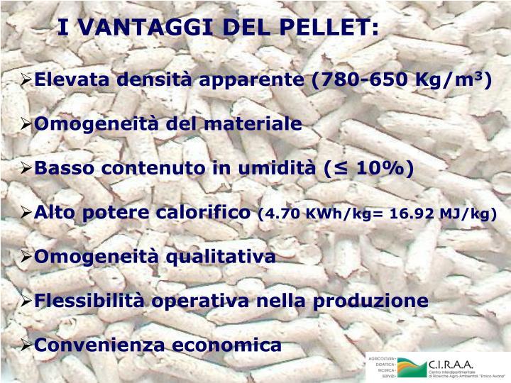 I VANTAGGI DEL PELLET: