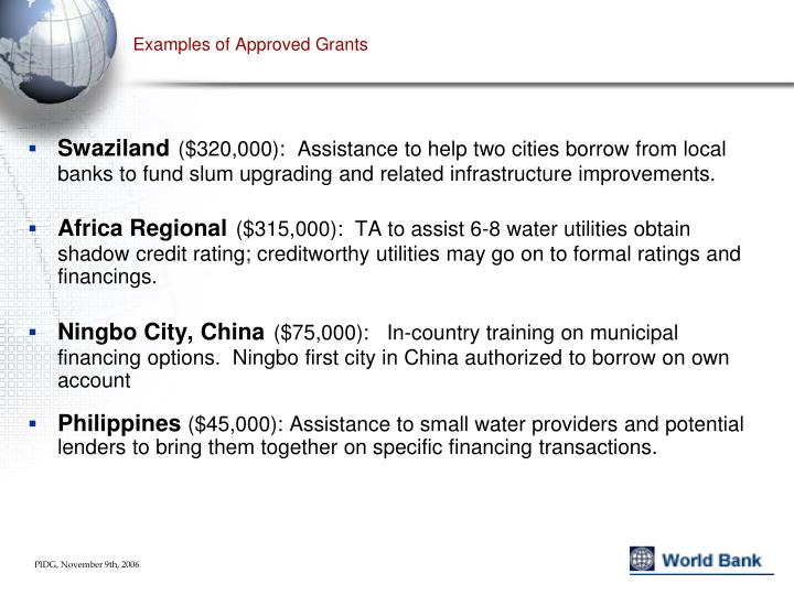 Examples of Approved Grants