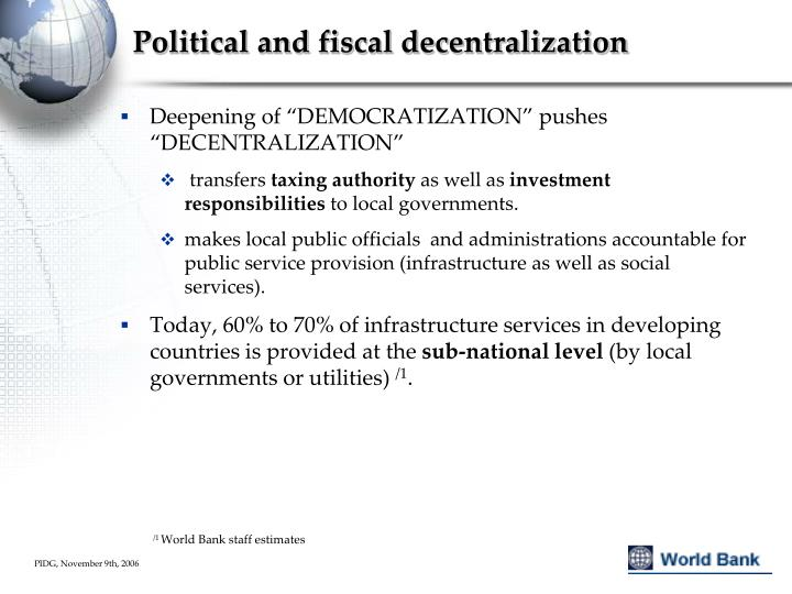 Political and fiscal decentralization