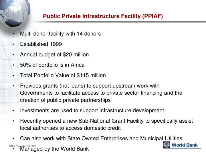 Public Private Infrastructure Facility (PPIAF)
