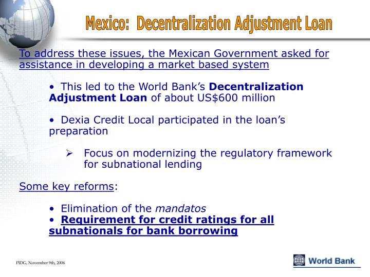 Mexico:  Decentralization Adjustment Loan