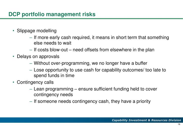 DCP portfolio management risks