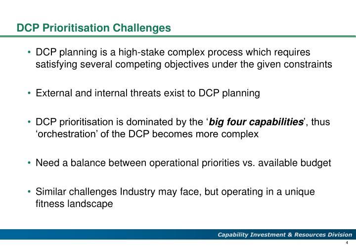 DCP Prioritisation Challenges