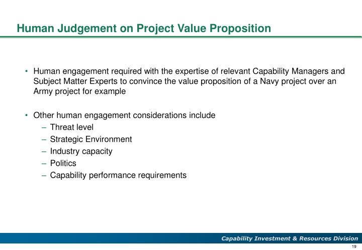 Human Judgement on Project Value Proposition