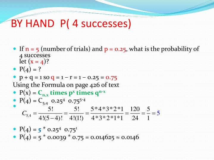 BY HAND  P( 4 successes)