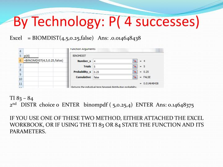 By Technology: P( 4 successes)