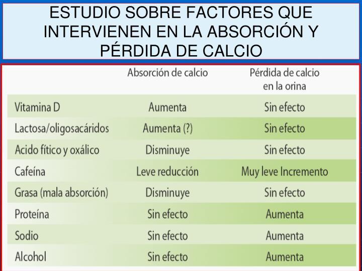 ESTUDIO SOBRE FACTORES QUE INTERVIENEN EN LA ABSORCIÓN Y PÉRDIDA DE CALCIO