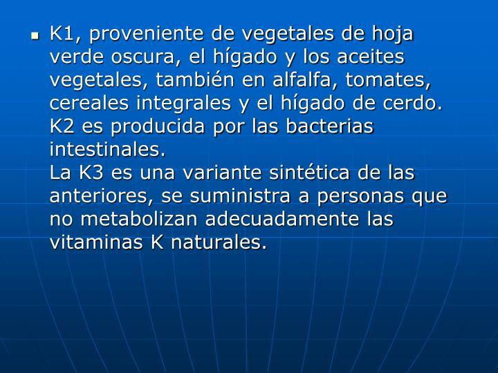 K1, proveniente de vegetales de hoja verde oscura, el hígado y los aceites vegetales, también en alfalfa, tomates, cereales integrales y el hígado de cerdo. K2 es producida por las bacterias intestinales.