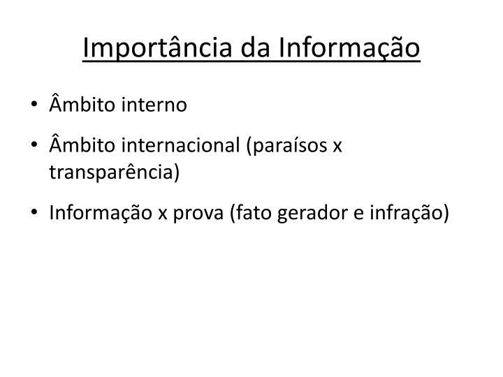Import ncia da informa o