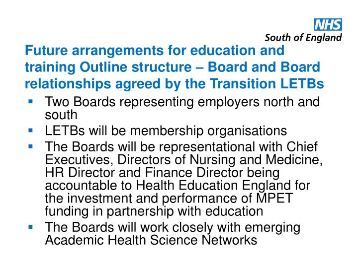 Future arrangements for education and training Outline structure – Board and Board relationships agreed by the Transition LETBs