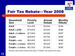 fair tax rebate year 2008