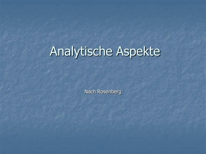 Analytische Aspekte