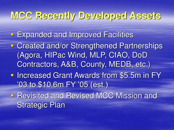 MCC Recently Developed Assets