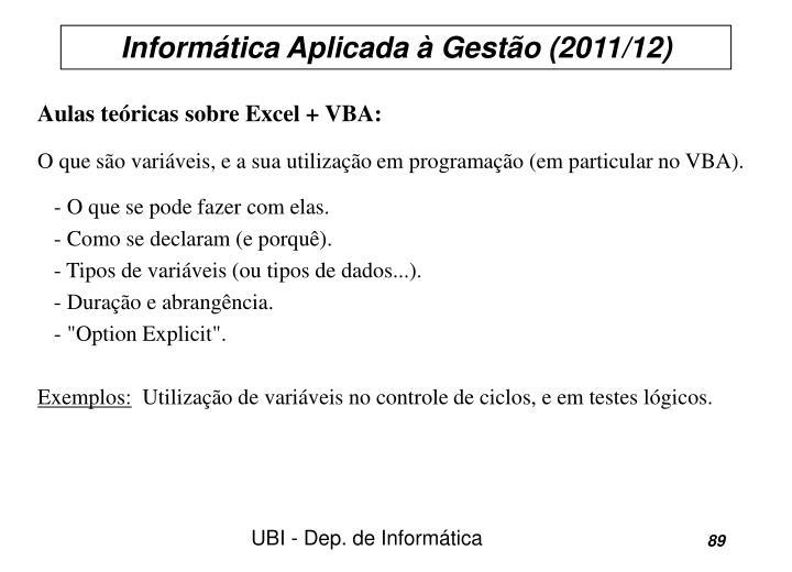 Aulas teóricas sobre Excel + VBA: