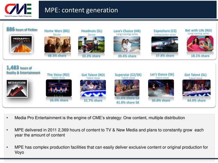 MPE: content generation