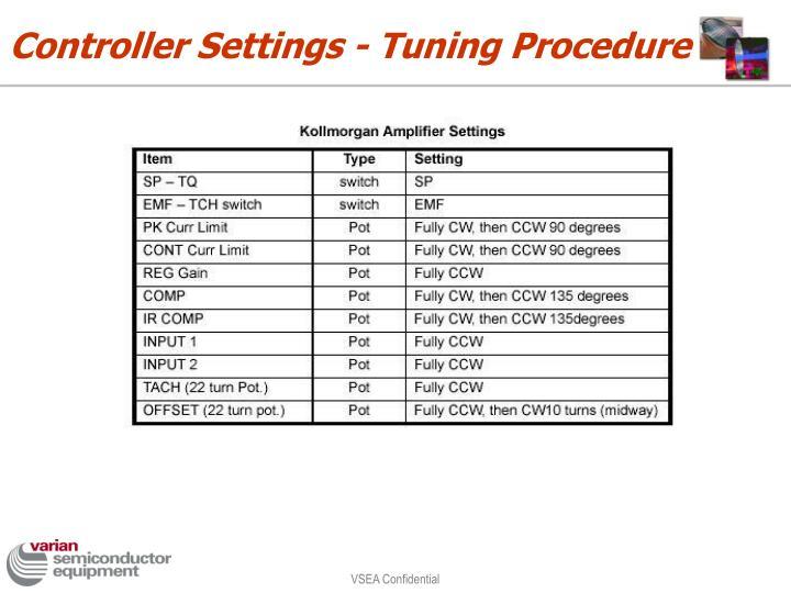 Controller Settings - Tuning Procedure
