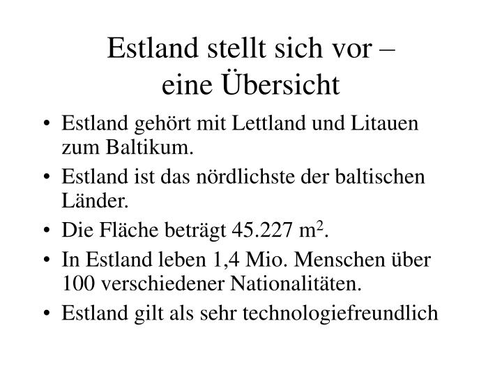 Estland stellt sich vor eine bersicht