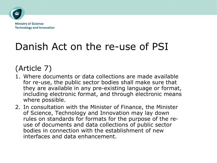 Danish Act on the re-use of PSI