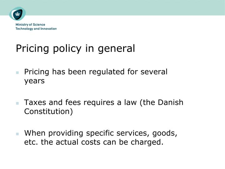 Pricing policy in general