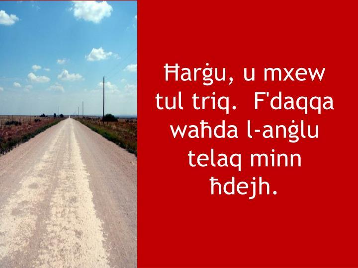Ħarġu, u mxew tul triq.  F'daqqa waħda l-anġlu telaq minn ħdejh.