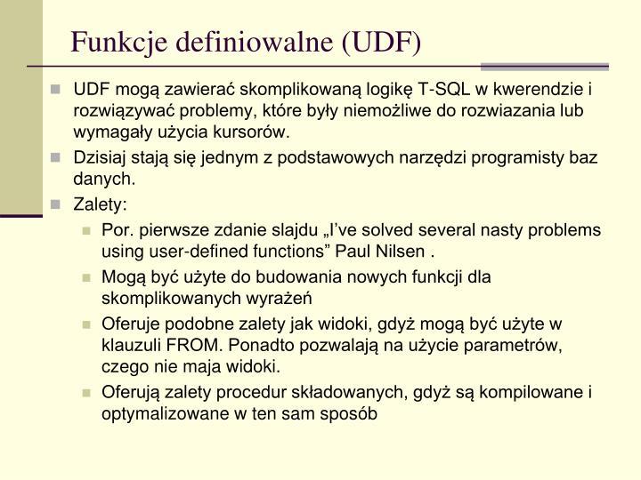 Funkcje definiowalne (UDF)