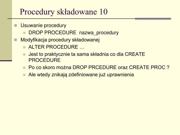 Procedury składowane 10