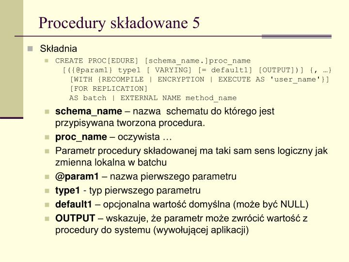 Procedury składowane 5