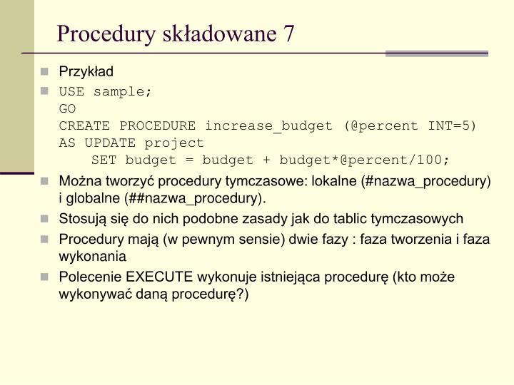 Procedury składowane 7