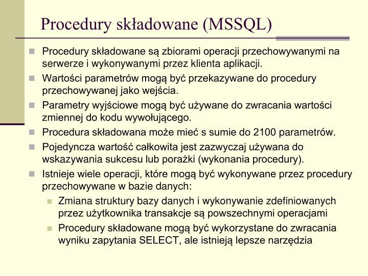 Procedury składowane (MSSQL)