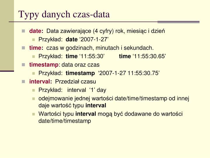 Typy danych czas data
