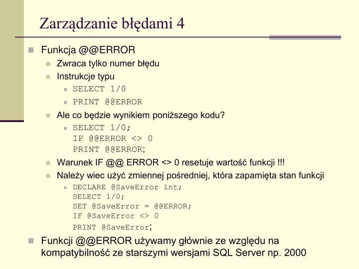 Zarządzanie błędami 4