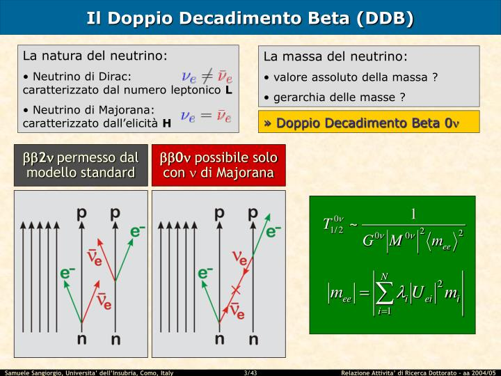 Il doppio decadimento beta ddb