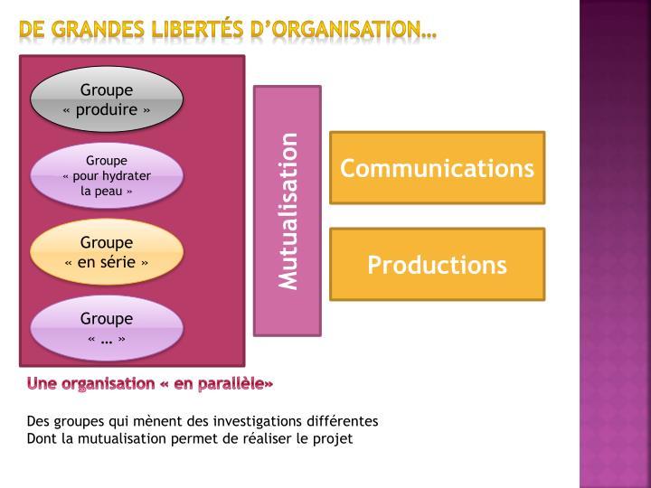 De grandes libertés d'organisation…