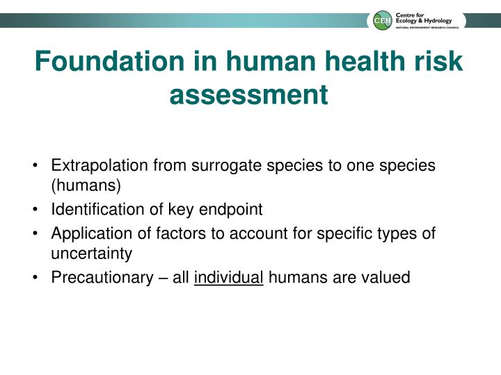 Foundation in human health risk assessment