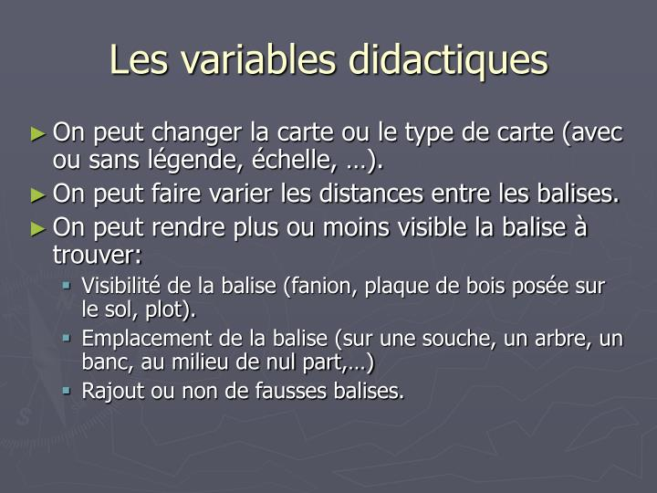 Les variables didactiques