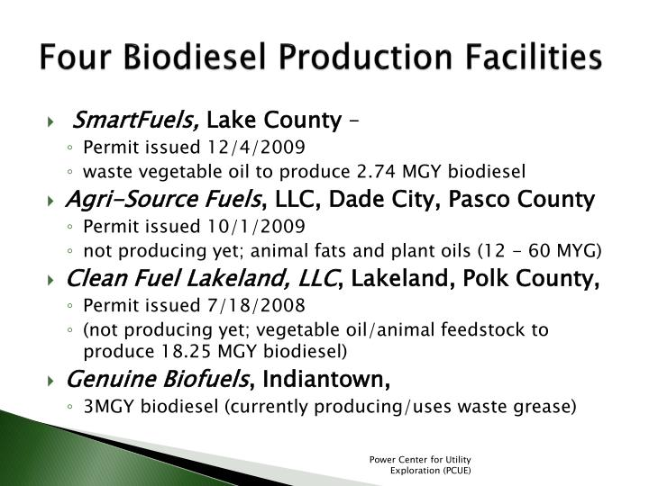 Four Biodiesel Production Facilities