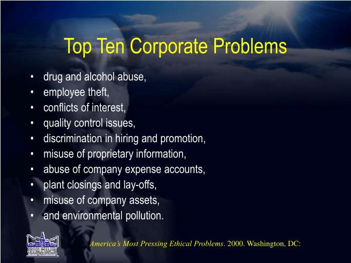 Top Ten Corporate Problems