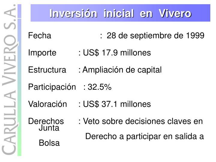Inversión  inicial  en  Vivero