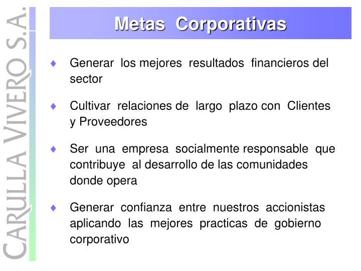 Metas  Corporativas