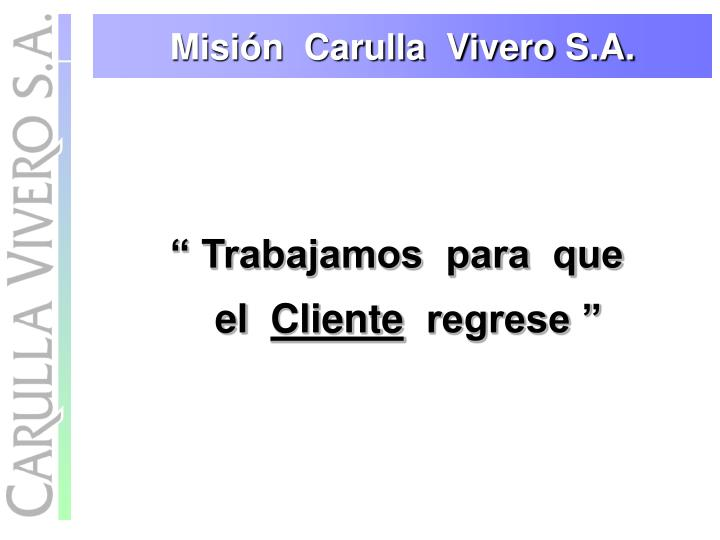 Misión  Carulla  Vivero S.A.