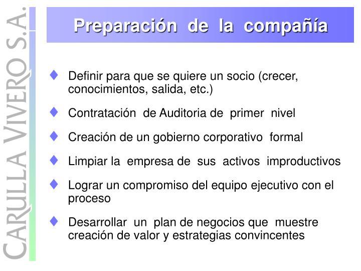 Preparación  de  la  compañía