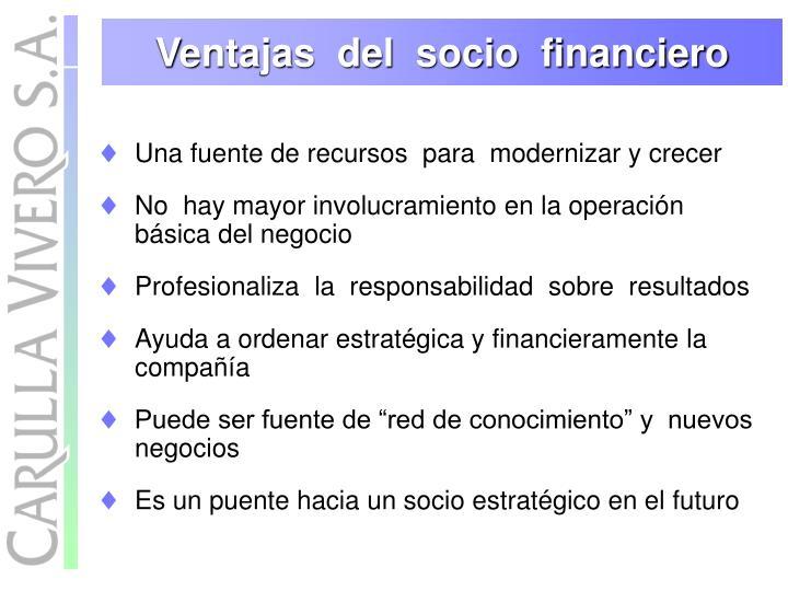 Ventajas  del  socio  financiero