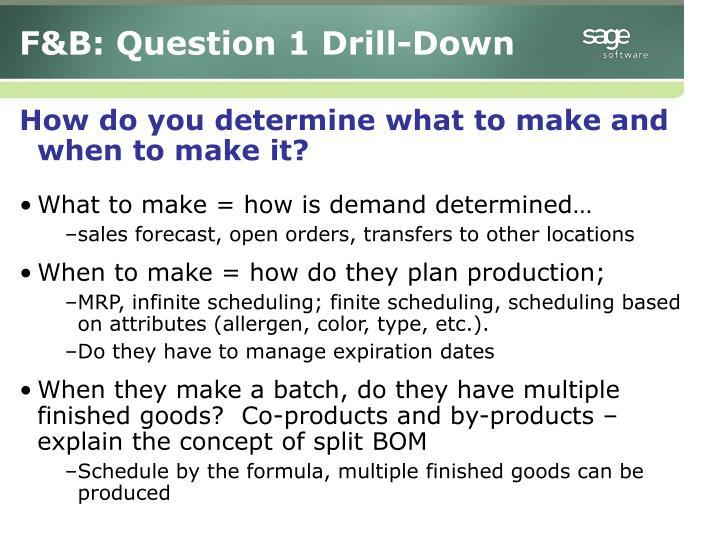 F&B: Question 1 Drill-Down