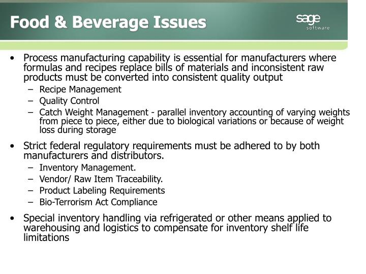 Food & Beverage Issues