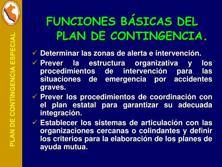 FUNCIONES BÁSICAS DEL PLAN DE CONTINGENCIA
